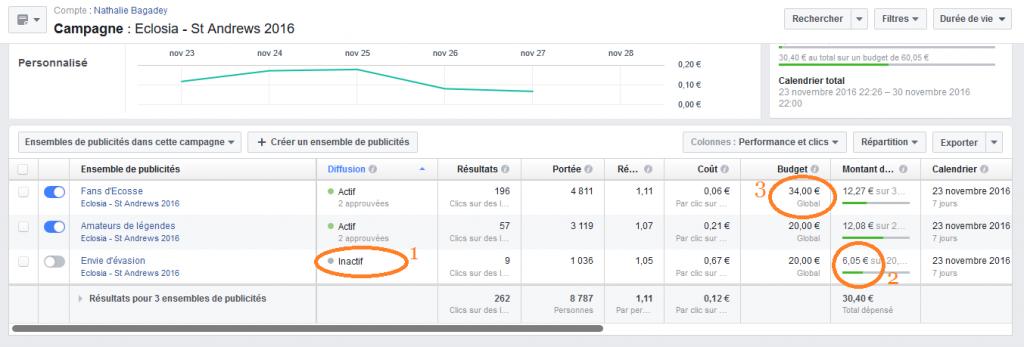 Publicités Facebook 6 - suivi - répartition budget