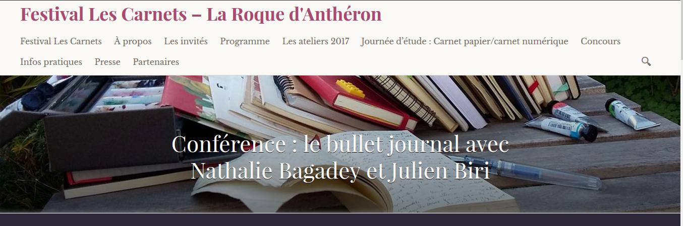 Conférence Bullet Journal La Roque d'Antheron - page de présentation